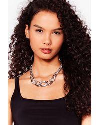 Nasty Gal Diamante Curb Chain Necklace - Metallic