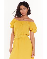 "Nasty Gal ""moved To Tiers Off-the-shoulder Ruffle Top"" - Yellow"