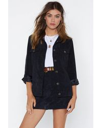 "Nasty Gal ""corduroy Jacket With Button Closures At Front"" - Black"