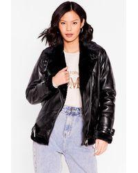 Nasty Gal See You Aviator High Shine Faux Leather Jacket - Black