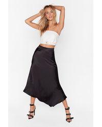 "Nasty Gal ""nasty Gal Studio Sleek For You Bias Cut Midi Skirt"" - Black"