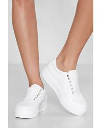 "Nasty Gal ""croc Faux Leather Platform Sneaker"" - White"