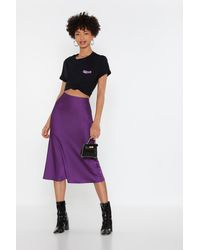 Nasty Gal Slip Into It Satin Midi Skirt - Purple