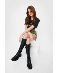 Nasty Gal - Faux Leather Lace Up Knee High Boots - Lyst