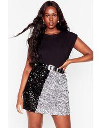Nasty Gal Sequin Us Over Plus Two-tone Mini Skirt - Metallic