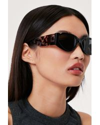 Nasty Gal Tortoiseshell Thick Arm Sunglasses - Black