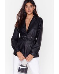 """Nasty Gal """"faux Leather Miss A Beat Longline Belted Jacket"""" - Black"""