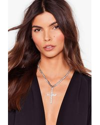 Nasty Gal Don't Cross Me Diamante Chain Necklace - Metallic