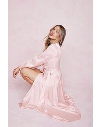 Nasty Gal Satin Long Sleeve Maxi Wrap Dress - Pink