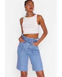 """Nasty Gal """"high-waisted Belted Denim Shorts In Vintage Blue"""""""