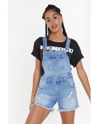 Nasty Gal - Scratch That Distressed Cropped Overalls - Lyst
