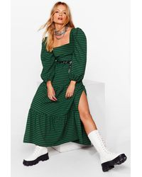 Nasty Gal Tiered Maxi Smock Dress In Gingham Check - Green