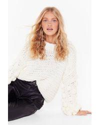 "Nasty Gal ""call It Knit's Pom Pom Balloon Sleeve Sweater "" - White"