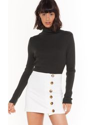 "Nasty Gal ""get Button-down To It Denim Skirt"" - White"