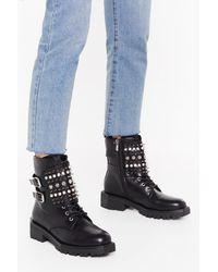 "Nasty Gal ""take A Spike Diamante Biker Boots"" - Black"