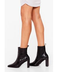 Nasty Gal Pointed Croc Heeled Boots - Black