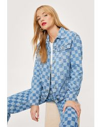 Nasty Gal Petite Checkerboard Relaxed Denim Jacket - Blue