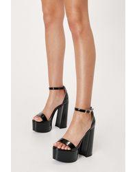Nasty Gal Metallic Open Toe Platform Heeled Sandals - Black