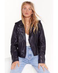Nasty Gal Faux Leather Zip Oversized Jacket - Black