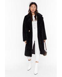 """Nasty Gal """"coat This Down Faux Fur Coat"""" - Black"""