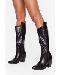 Nasty Gal Ride Into The Distance Knee-high Western Boots - Black