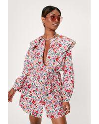 Nasty Gal Floral Print Collar Detail Ruffle Mini Dress - White