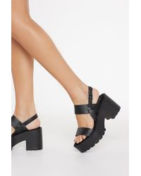 "Nasty Gal ""chunky Cleated Open Toe Sandals"" - Black"