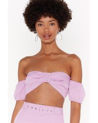 "Nasty Gal ""buckle It Puff Sleeve Crop Top"" - Pink"