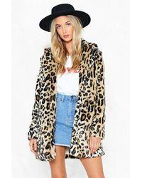 """Nasty Gal """"grrrl Power Faux Fur Leopard Coat"""" - Brown"""
