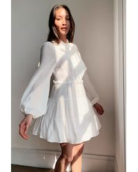 Nasty Gal Got It On Texture Pussybow Mini Dress - White