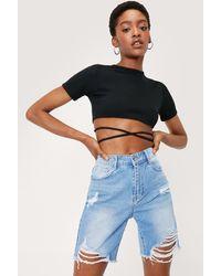 Nasty Gal Ripped Longline Faded Denim Shorts - Blue
