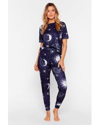 "Nasty Gal ""night And Day Moon Pyjama Pant Set"" - Blue"