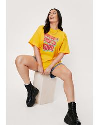 Nasty Gal Grande Taille - T-Shirt Ample À Impressions Free To Love - Multicolore