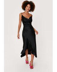 Nasty Gal Satin Cowl Neck Ruffle Hem Midi Dress - Black
