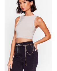 Nasty Gal Cross This Off Your List Curb Chain Drop Belt - Metallic