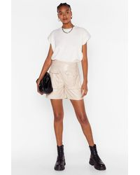 "Nasty Gal ""it'll Faux Leather Work High-waisted Utility Shorts"" - Multicolour"