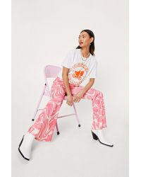 Nasty Gal Petite Marble Print High Waisted Flare Trousers - Rose