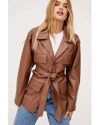 Nasty Gal Oversized Belted Faux Leather Jacket - Brown