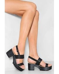 Nasty Gal Faux Leather Cleated Platform Sandals - Black