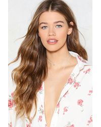 Nasty Gal - Rose Chain Layered Tie Necklace Rose Chain Layered Tie Necklace - Lyst
