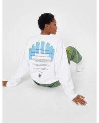 Nasty Gal Scorpio Oversized Graphic Back Sweatshirt - White