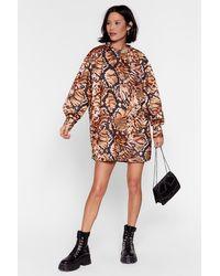 Nasty Gal Dressing Gown Sweatshirt À Imprimé Animalier C'Est De La Sauvagerie - Neutre