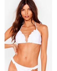 Nasty Gal Vitamin Sea Ruffle Triangle Bikini Top - White