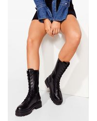 Nasty Gal Lace-up To The Music Calf High Biker Boots - Black