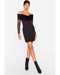 Nasty Gal Mesh Appeal Off-the-shoulder Blazer Dress - Black