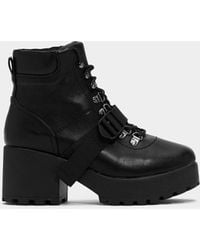 """Nasty Gal """"block My World Faux Leather Boot"""" - Black"""