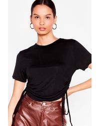 Nasty Gal Right By Your Side Ruched Crop Top - Black