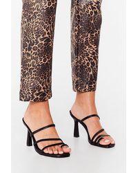 Nasty Gal Faux Leather Strappy Stiletto Heels - Black