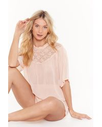 Nasty Gal Lace Stay Together Pyjama Top And Shorts Set - Natural