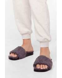 Nasty Gal Just Fur You Faux Shearling Sliders - Grey